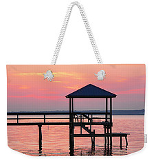 Pier In Pink Sunset Weekender Tote Bag