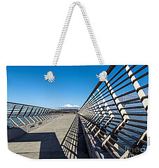 Weekender Tote Bag featuring the photograph Pier Perspective by Kate Brown