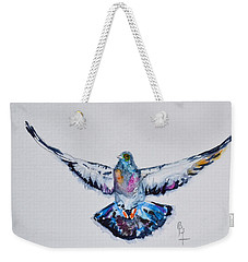 Pigeon In Flight Weekender Tote Bag by Beverley Harper Tinsley