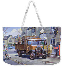 Weekender Tote Bag featuring the painting Piggy Goes To Market by Mike  Jeffries