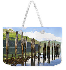 Weekender Tote Bag featuring the photograph Pilings by Cathy Mahnke