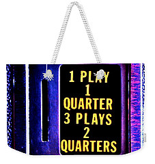 Pinball Pricing Weekender Tote Bag by Benjamin Yeager