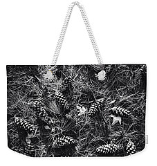 Pine Cones And Patterns - Monochrome Weekender Tote Bag