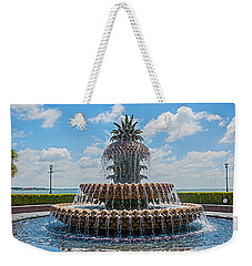Weekender Tote Bag featuring the photograph Pineapple Fountain by Sennie Pierson