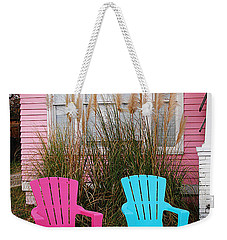 Pink And Blue Chairs By Jan Marvin Weekender Tote Bag