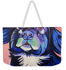 Weekender Tote Bag featuring the painting Pink And Blue Dog by Joshua Morton