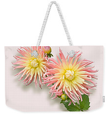 Pink And Cream Cactus Dahlia Weekender Tote Bag by Jane McIlroy