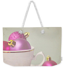 Pink And Gold Christmas Baubles In China Cup. Weekender Tote Bag