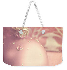 Pink And Gold Ornate Christmas Bauble Weekender Tote Bag