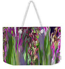Pink And Green Floral Weekender Tote Bag by Cedric Hampton