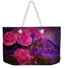 Pink And Purple Floral Bouquet Weekender Tote Bag by Phyllis Denton