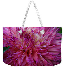 Pink And White Dahlia  Weekender Tote Bag by Denyse Duhaime