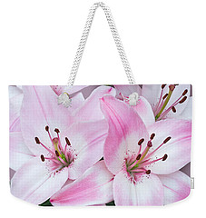 Pink And White Lilies Weekender Tote Bag by Jane McIlroy