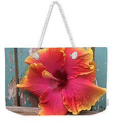 Tropical Pink And Yellow Hibiscus  Weekender Tote Bag