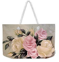 Pink And Yellow Roses In Teapot Painting Weekender Tote Bag