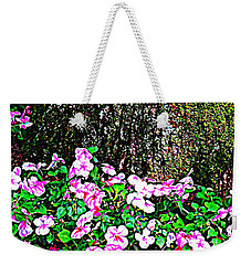 Weekender Tote Bag featuring the photograph Pink Blooms In The Forest by Miriam Danar