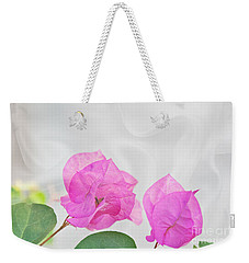 Pink Bougainvillea Flowers On White Silk Art Prints Weekender Tote Bag