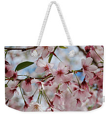 Weekender Tote Bag featuring the photograph Pink Cherry Blossoms by Jocelyn Friis