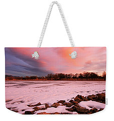Pink Clouds Over Memorial Park Weekender Tote Bag by Ronda Kimbrow