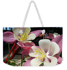 Weekender Tote Bag featuring the photograph Pink Columbine by Caryl J Bohn