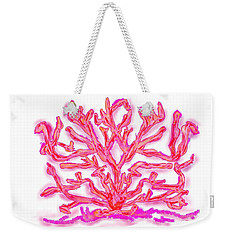 Weekender Tote Bag featuring the digital art Pink Coral by Christine Fournier