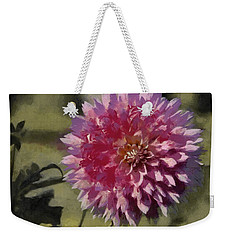 Weekender Tote Bag featuring the painting Pink Dahlia by Jeff Kolker