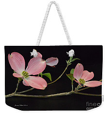 Weekender Tote Bag featuring the photograph Pink Dogwood Branch  by Jeannie Rhode