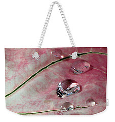 Pink Fancy Leaf Caladium - September Tears Weekender Tote Bag