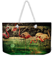 Weekender Tote Bag featuring the digital art Pink Flamingos - Shangri-la by Absinthe Art By Michelle LeAnn Scott