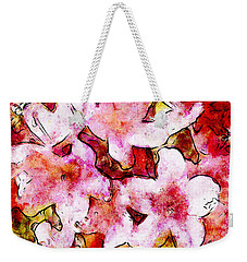 Pink Flowers 2 Weekender Tote Bag by Greg Collins