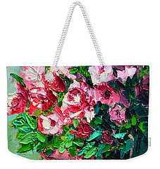 Weekender Tote Bag featuring the painting Pink Flowers by Ana Maria Edulescu