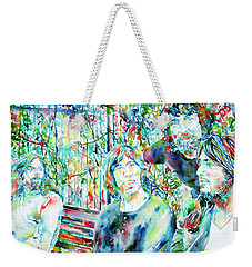 Pink Floyd At The Park Watercolor Portrait Weekender Tote Bag by Fabrizio Cassetta