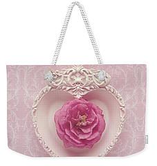 Pink Heart - Pink Camellia Weekender Tote Bag by Cindy Garber Iverson