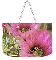 Pink Hedgehog Cactus Flower Weekender Tote Bag