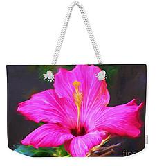 Pink Hibiscus Digital Painting In Oil Weekender Tote Bag