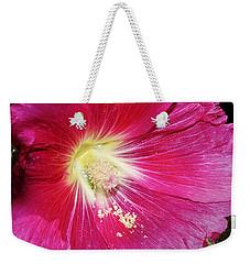 Pink Hollyhock Weekender Tote Bag by Phyllis Denton