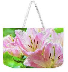 Pink Lilies Digital Painting Impasto Weekender Tote Bag