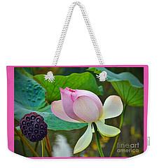 Pink Lotus Weekender Tote Bag by Savannah Gibbs