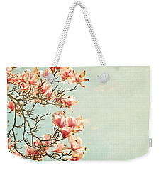 Pink Magnolia Flowers On Aqua Blue Green And French Script Weekender Tote Bag