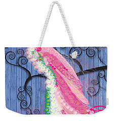 Weekender Tote Bag featuring the digital art Pink On Blue by Kim Prowse