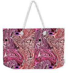 Weekender Tote Bag featuring the mixed media Pink Patches by Ann Calvo