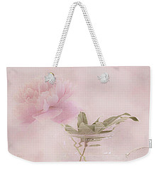 Pink Peony Blossom In Clear Glass Tea Pot Weekender Tote Bag by Sandra Foster