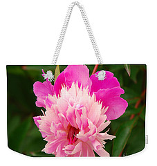 Weekender Tote Bag featuring the photograph Pink Peony by Mary Carol Story