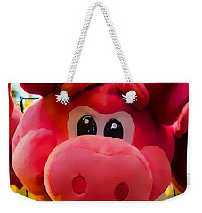 Weekender Tote Bag featuring the photograph Pink Piggy by Joan Reese