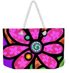 Pink Pinwheel Daisy Weekender Tote Bag