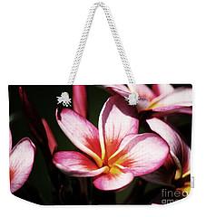 Pink Plumeria Weekender Tote Bag by Angela DeFrias