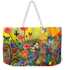 Weekender Tote Bag featuring the painting Pink Poppies In Paradise by Robin Maria Pedrero
