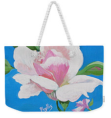 Weekender Tote Bag featuring the painting Pink Rose In Paint by Phyllis Kaltenbach