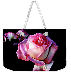 Weekender Tote Bag featuring the photograph Pink Rose  by Leanne Seymour