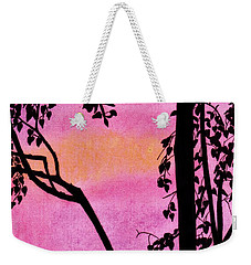 Weekender Tote Bag featuring the drawing Pink Sky Sunset by D Hackett